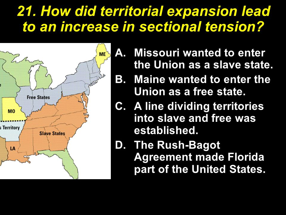 21. How did territorial expansion lead to an increase in sectional tension