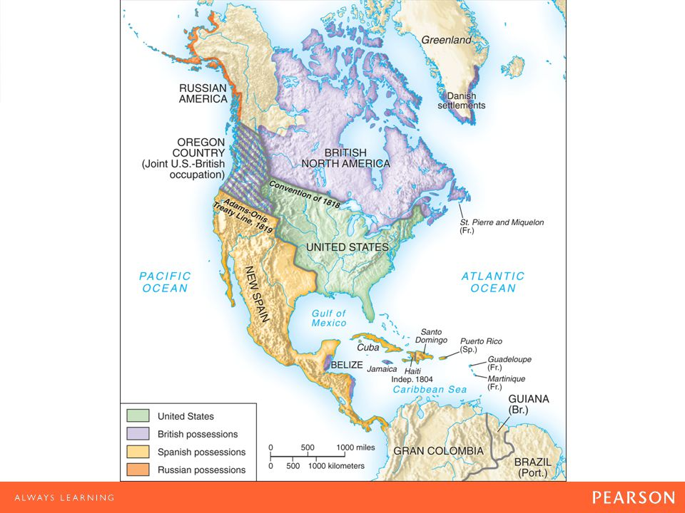 North America, 1819 Treaties with Britain following the War of 1812 setting the border between the United States and Canada (British North America) made this border the longest unfortified boundary line in the world.