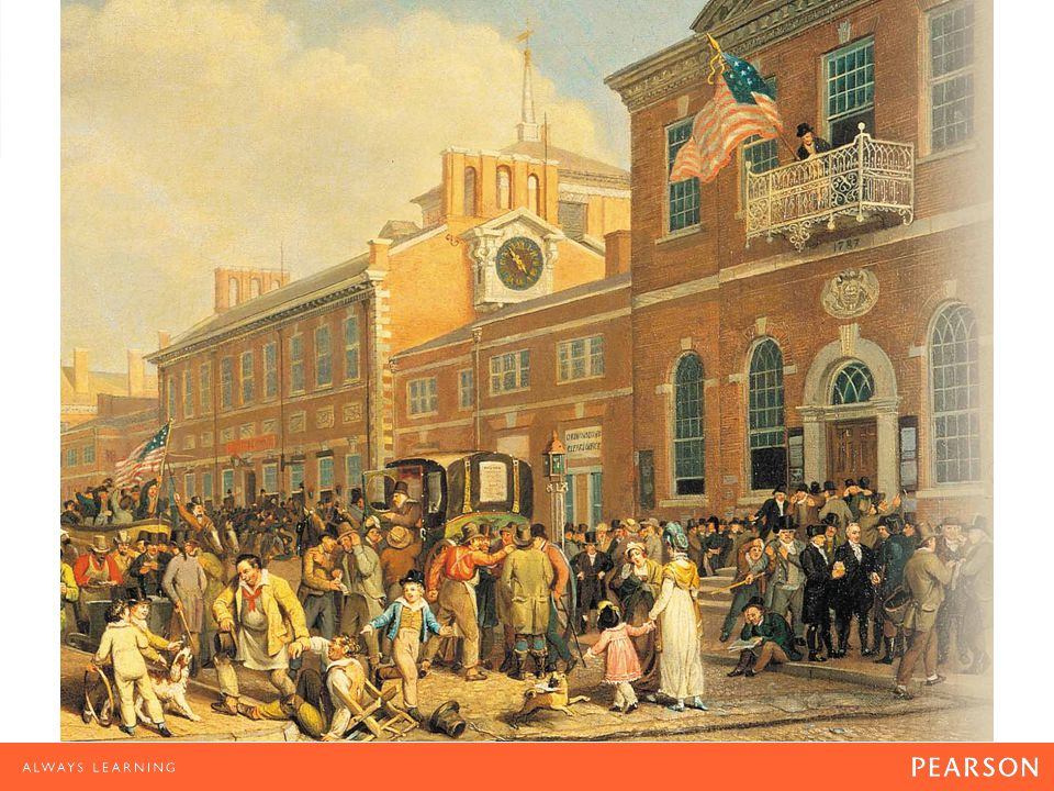 Election Day in Philadelphia (1815) An exuberant crowd celebrates in the square outside Independence Hall in this painting by German American artist John Lewis Krimmel.