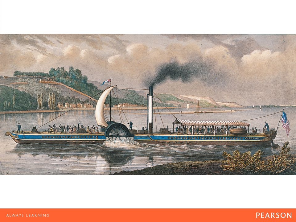 River Transport The Clermont on the Hudson (1830–1835) by Charles Pensee. Although some called his Clermont Fulton's Folly, Robert Fulton reduced the cost and increased the speed of river transport.