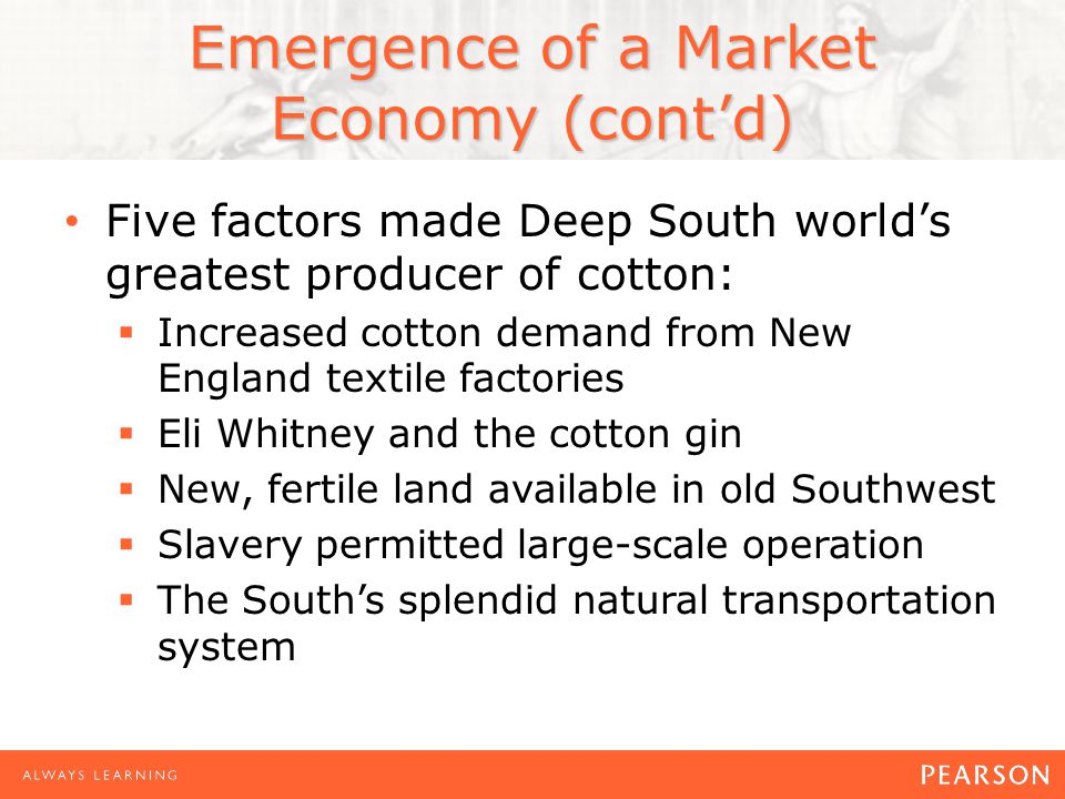 Emergence of a Market Economy (cont'd)