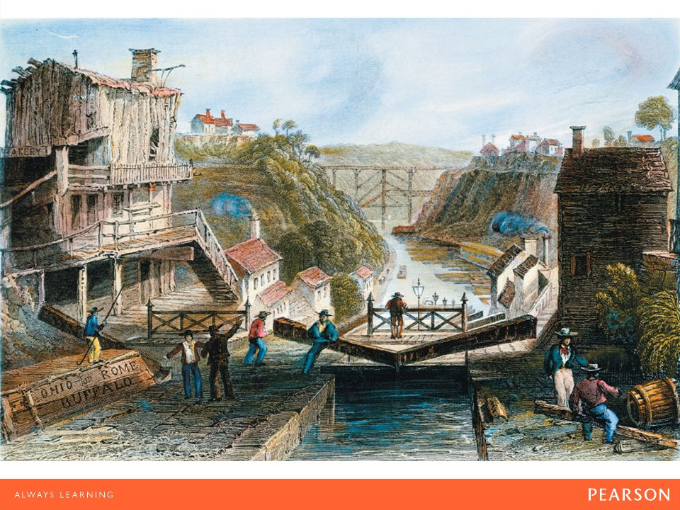 The Canal Boom Illustration of a lock on the Erie Canal at Lockport, New York, 1838. The canal facilitated trade by linking the Great Lakes regions to the eastern seaports.