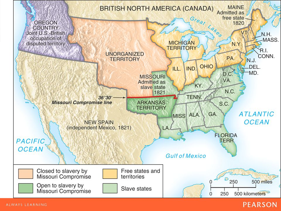 Map 9.1 The Missouri Compromise, 1820–1821 The Missouri Compromise kept the balance of power in the Senate by admitting Missouri as a slave state and Maine as a free state. The agreement temporarily settled the argument over slavery in the territories.