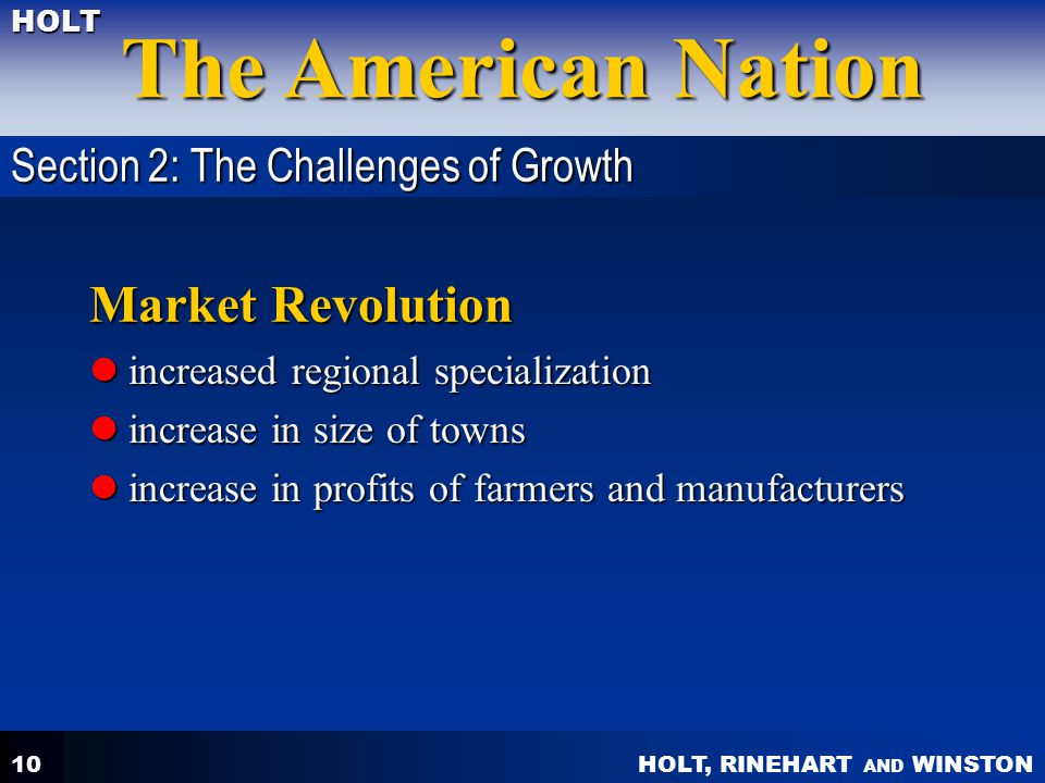Market Revolution Section 2: The Challenges of Growth