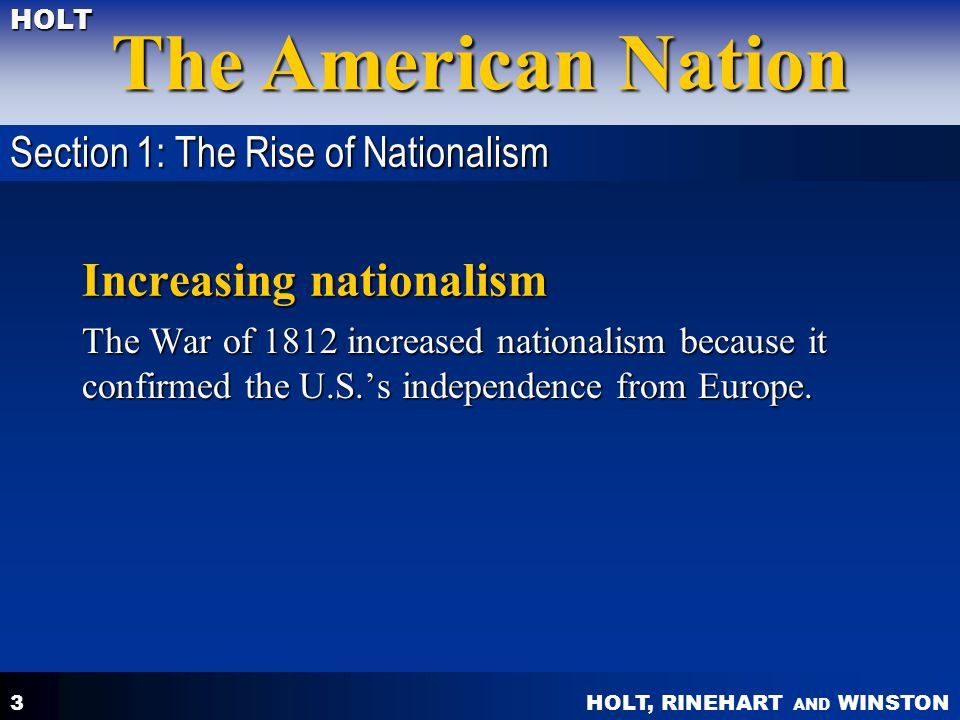 Increasing nationalism