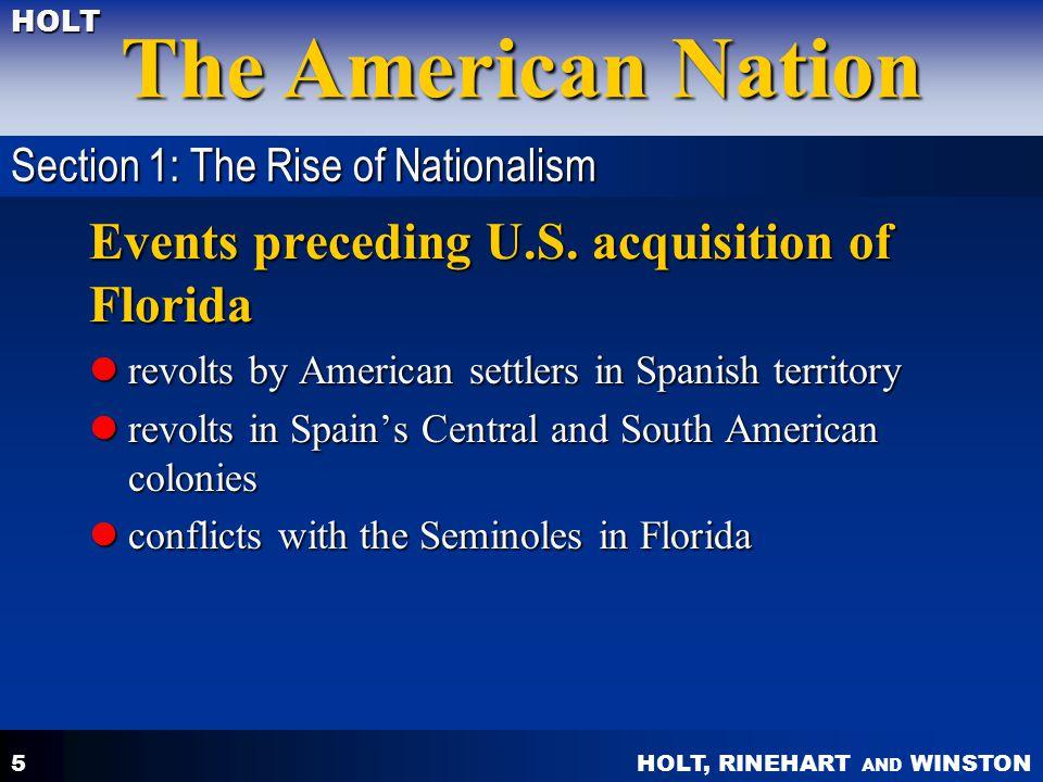 Events preceding U.S. acquisition of Florida