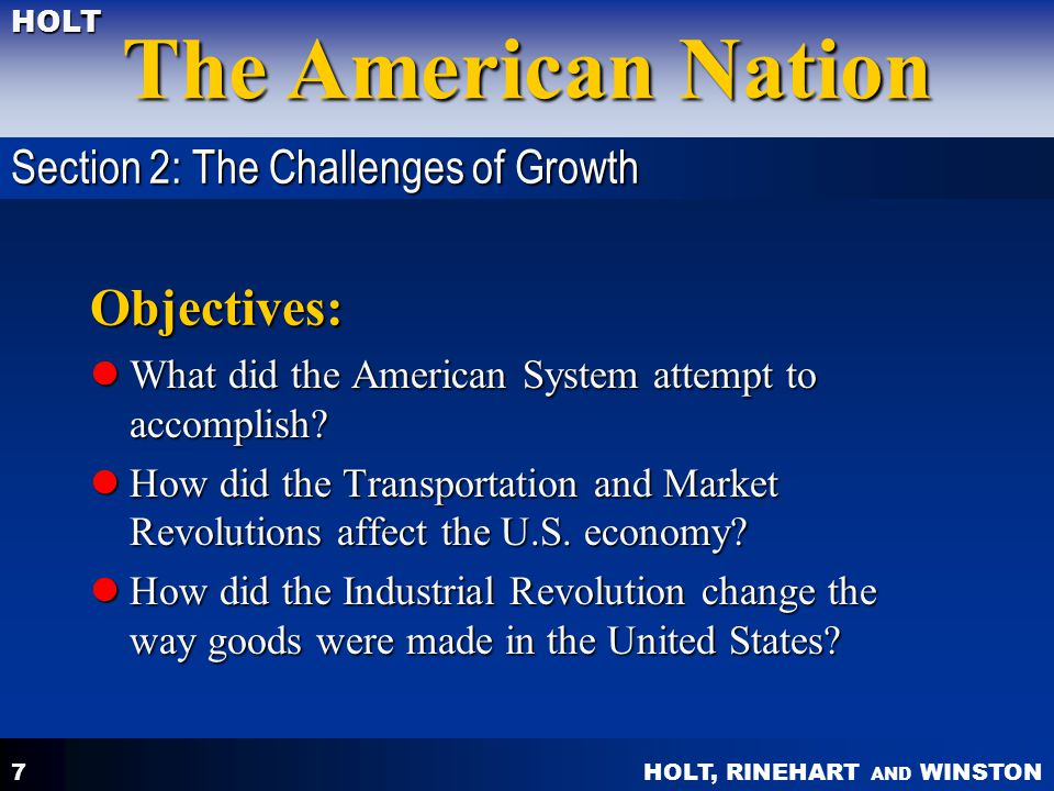 Objectives: Section 2: The Challenges of Growth