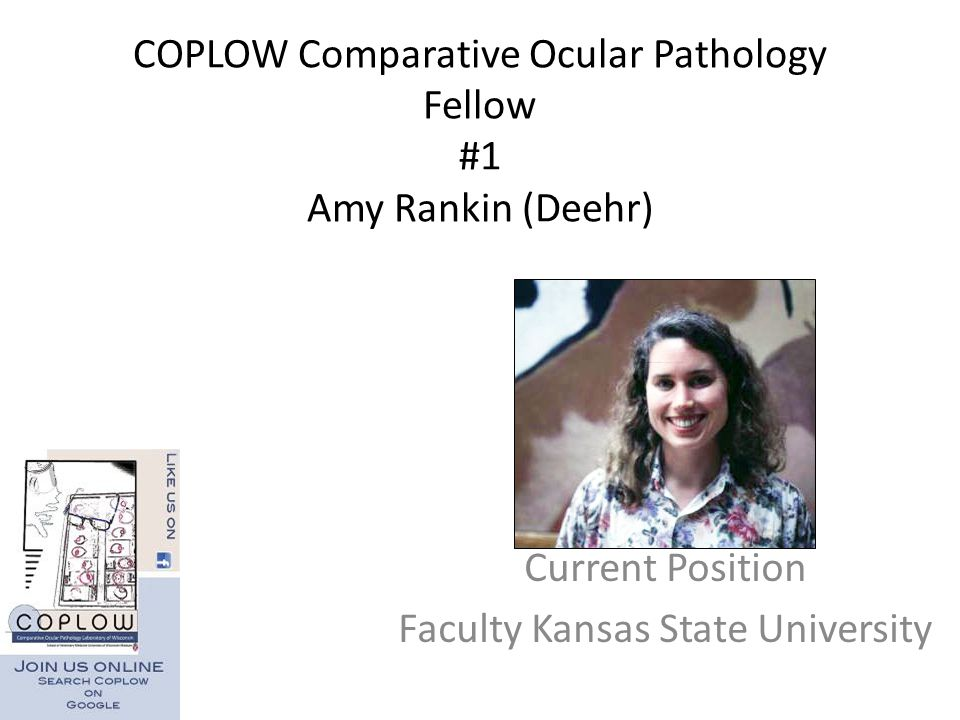 COPLOW Comparative Ocular Pathology Fellow #1 Amy Rankin (Deehr)