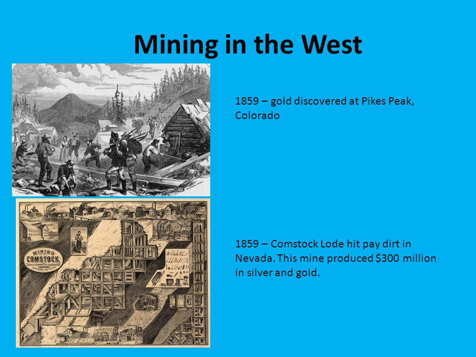 Mining in the West 1859 – gold discovered at Pikes Peak, Colorado
