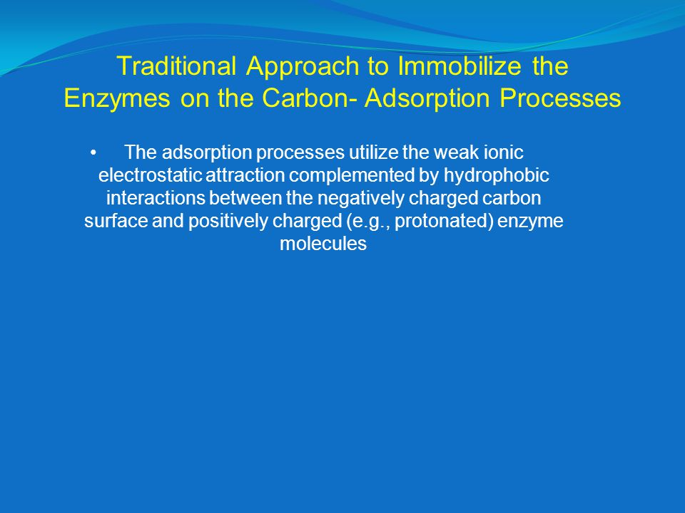 Traditional Approach to Immobilize the Enzymes on the Carbon- Adsorption Processes