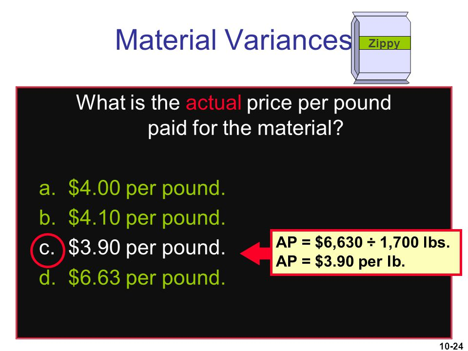 What is the actual price per pound paid for the material