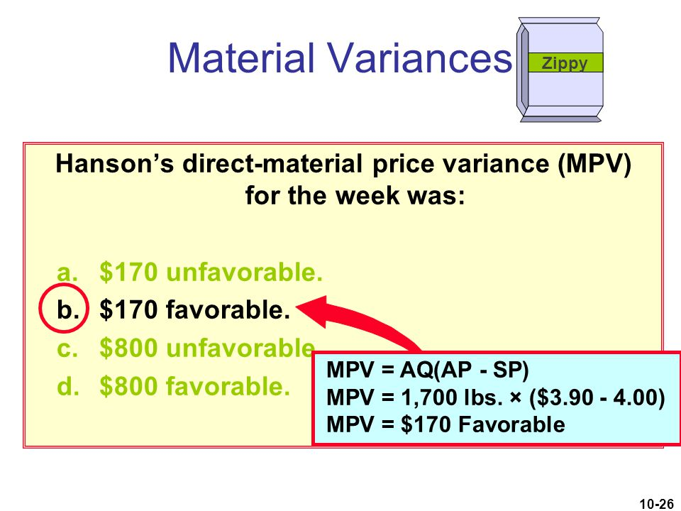 Hanson's direct-material price variance (MPV) for the week was: