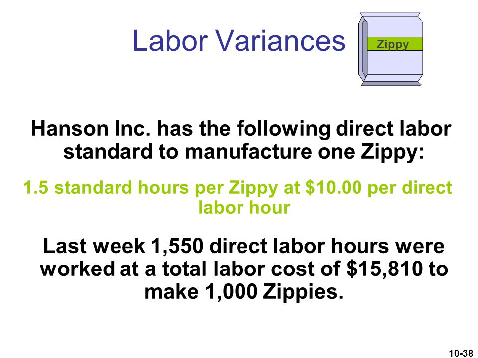 1.5 standard hours per Zippy at $10.00 per direct labor hour