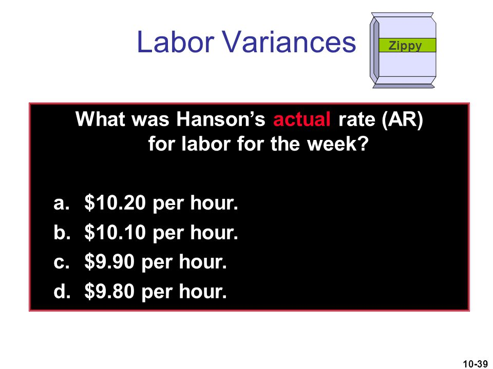 What was Hanson's actual rate (AR) for labor for the week