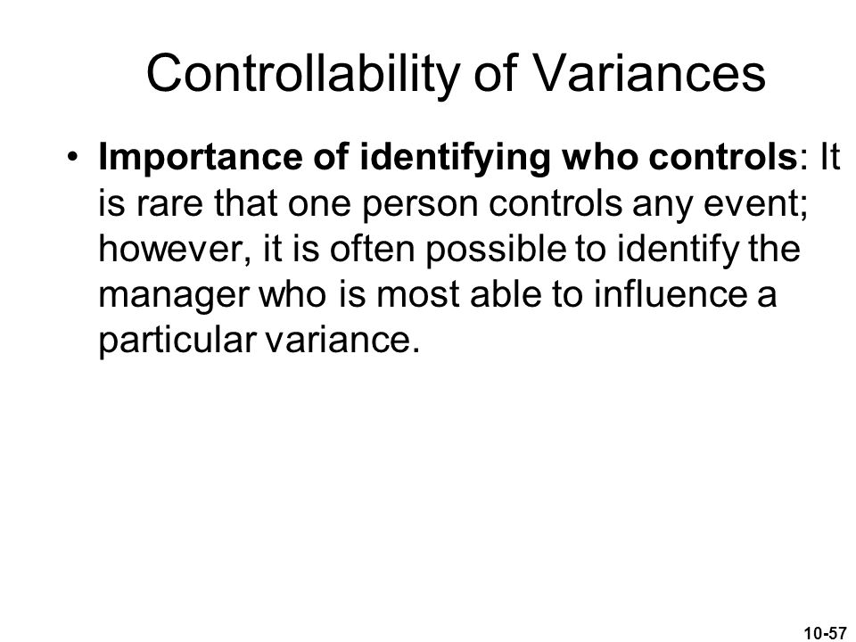 Controllability of Variances