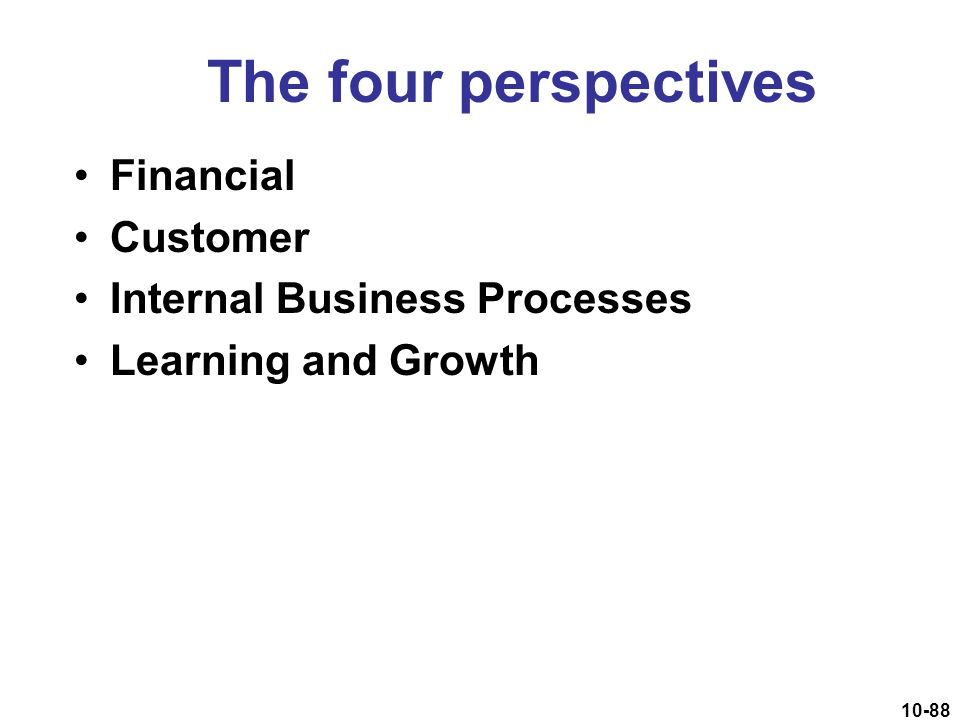 The four perspectives Financial Customer Internal Business Processes