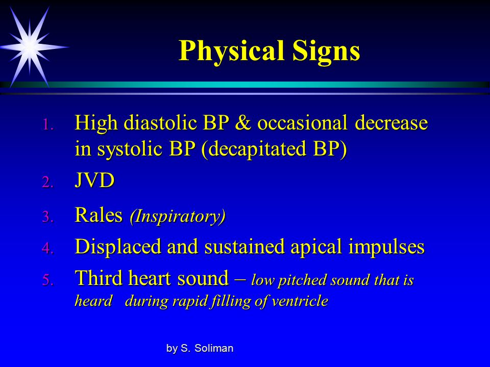 Physical Signs High diastolic BP & occasional decrease in systolic BP (decapitated BP) JVD. Rales (Inspiratory)
