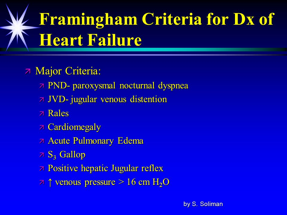 Framingham Criteria for Dx of Heart Failure