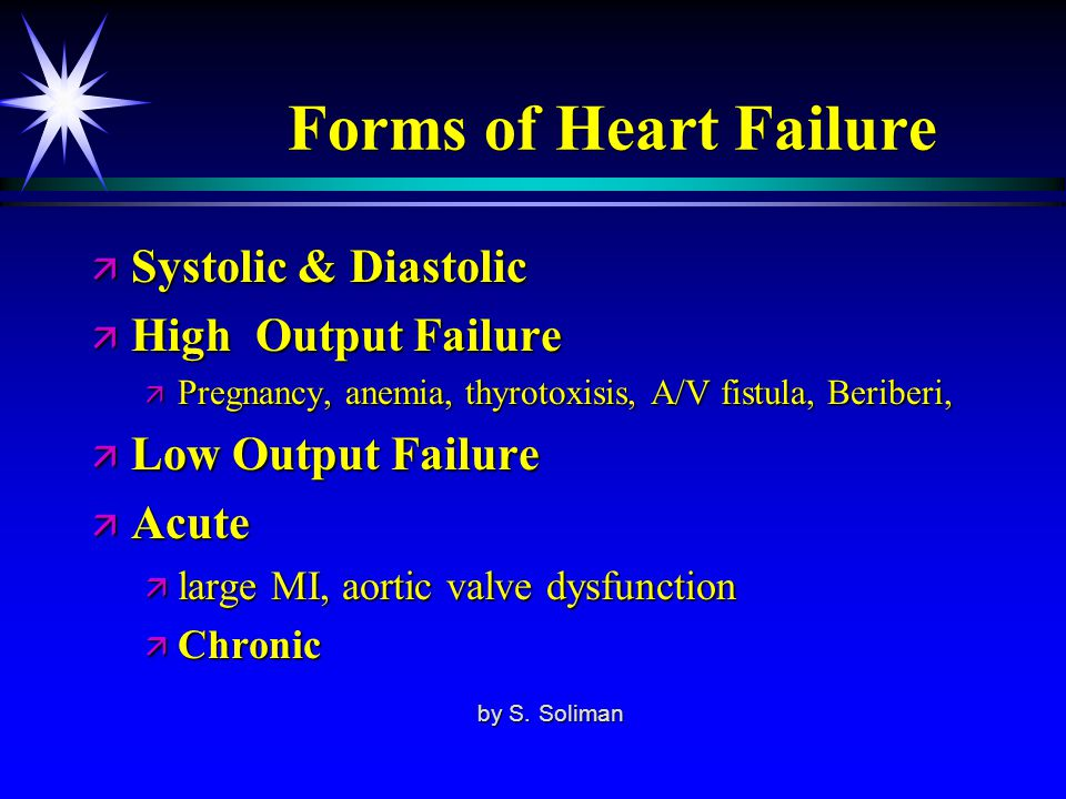 Forms of Heart Failure Systolic & Diastolic High Output Failure