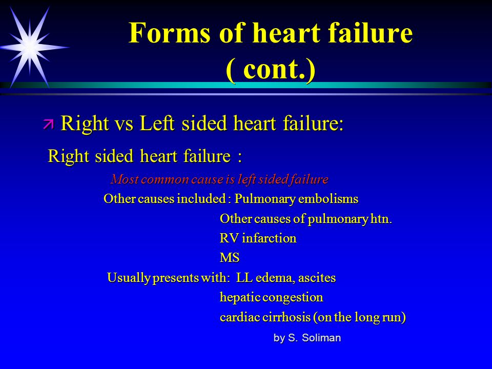 Forms of heart failure ( cont.)