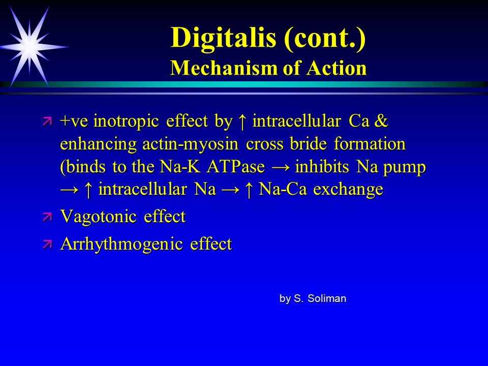 Digitalis (cont.) Mechanism of Action