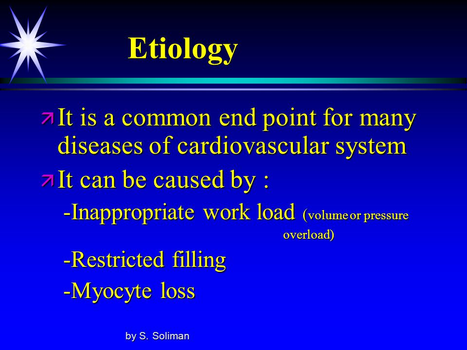 Etiology It is a common end point for many diseases of cardiovascular system. It can be caused by :