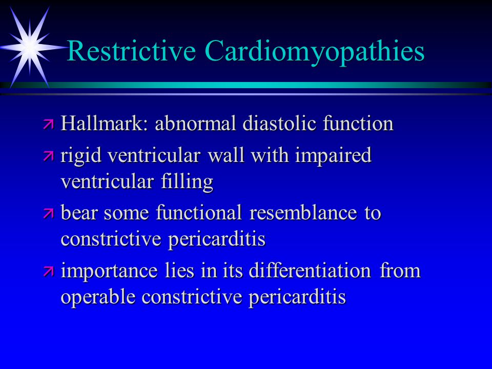 Restrictive Cardiomyopathies