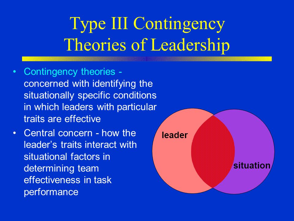 Type III Contingency Theories of Leadership