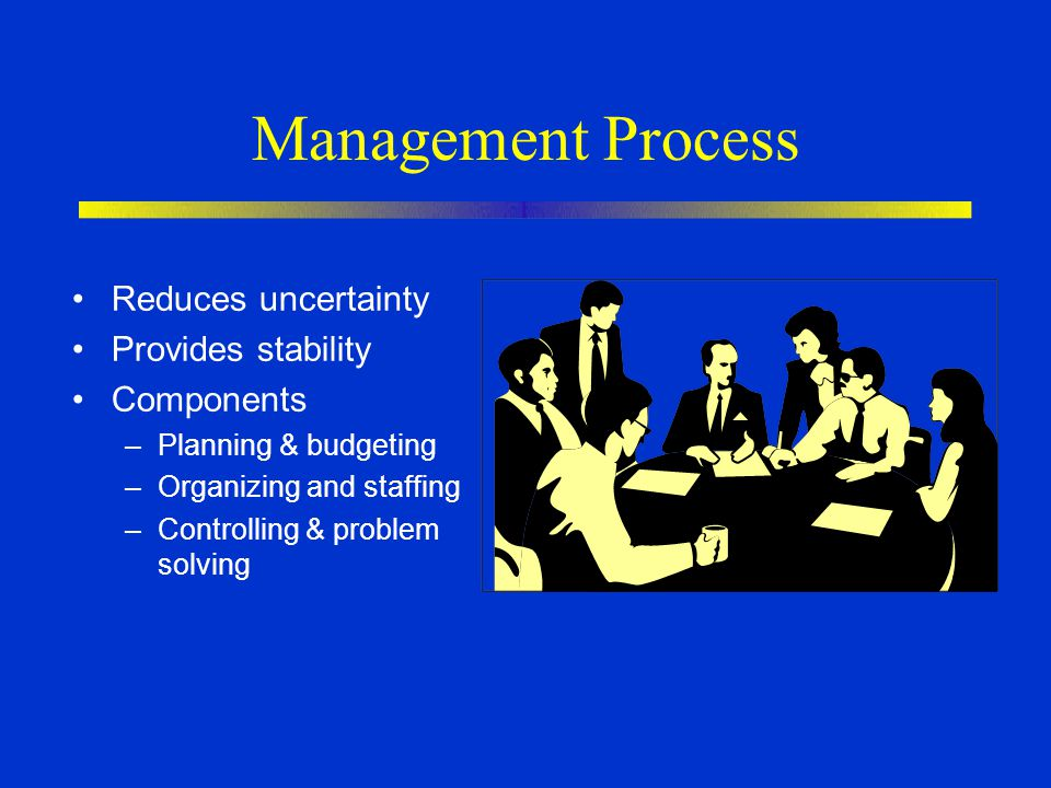 Management Process Reduces uncertainty Provides stability Components