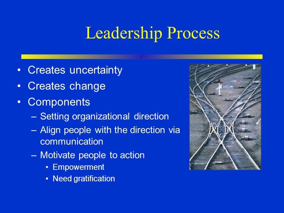 Leadership Process Creates uncertainty Creates change Components