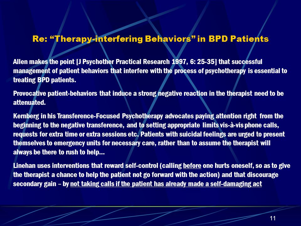 Re: Therapy-interfering Behaviors in BPD Patients