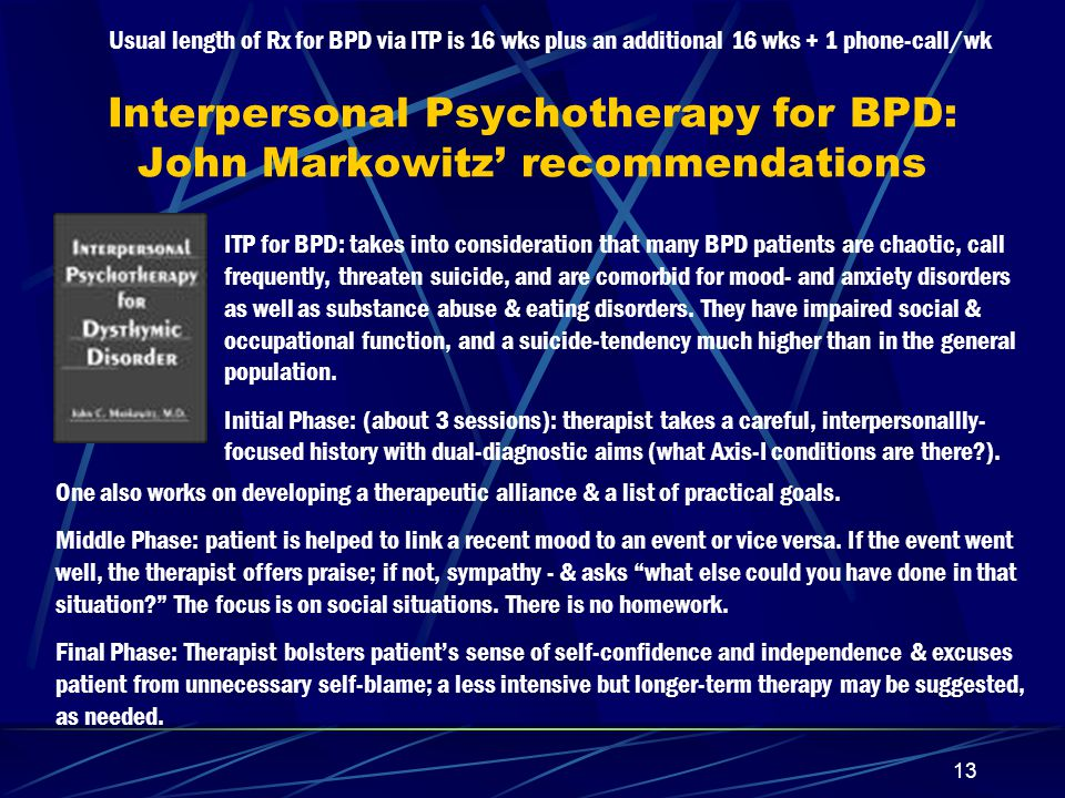 Interpersonal Psychotherapy for BPD: John Markowitz' recommendations