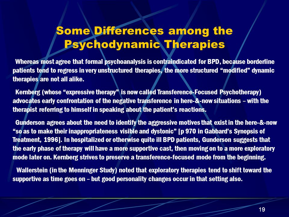 Some Differences among the Psychodynamic Therapies