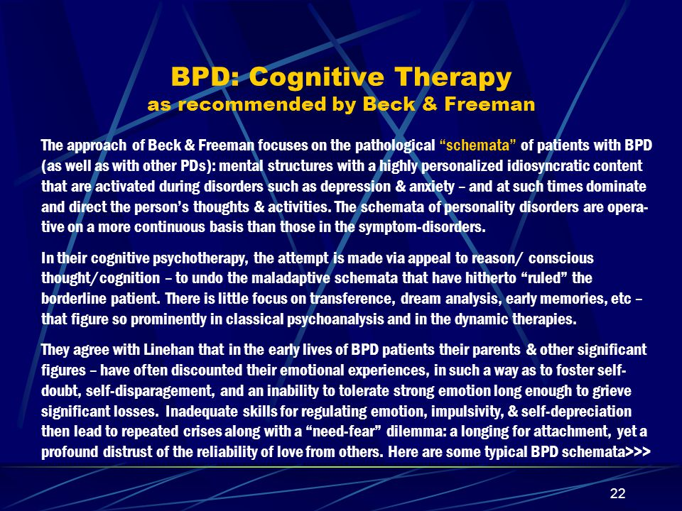 BPD: Cognitive Therapy as recommended by Beck & Freeman