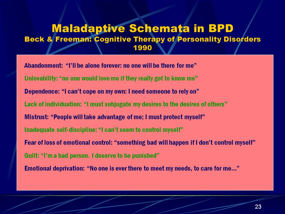 Maladaptive Schemata in BPD Beck & Freeman: Cognitive Therapy of Personality Disorders 1990