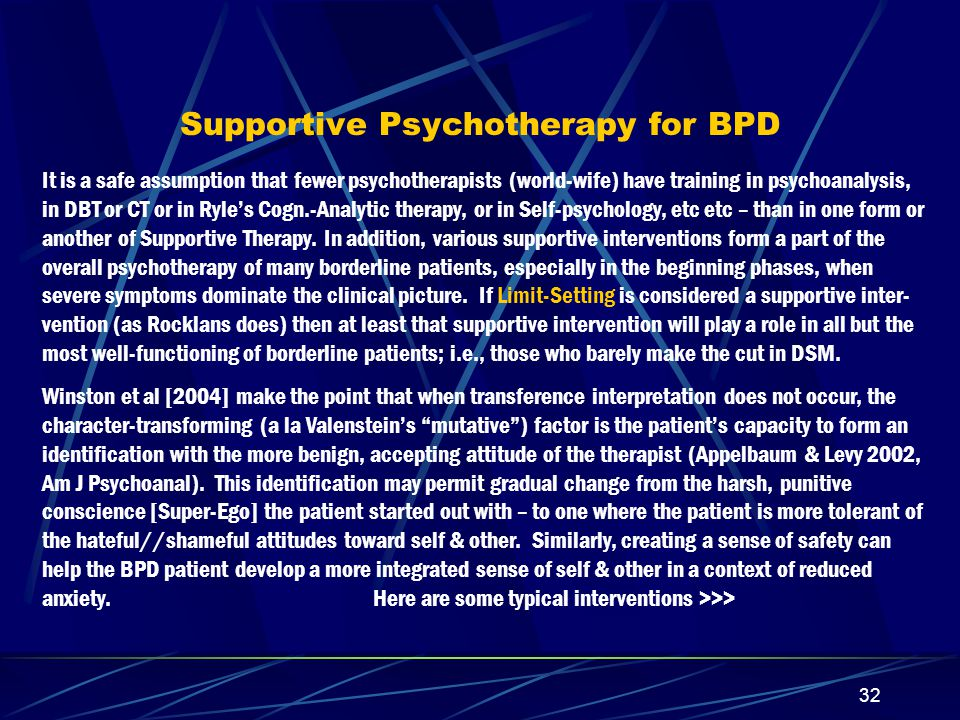 Supportive Psychotherapy for BPD