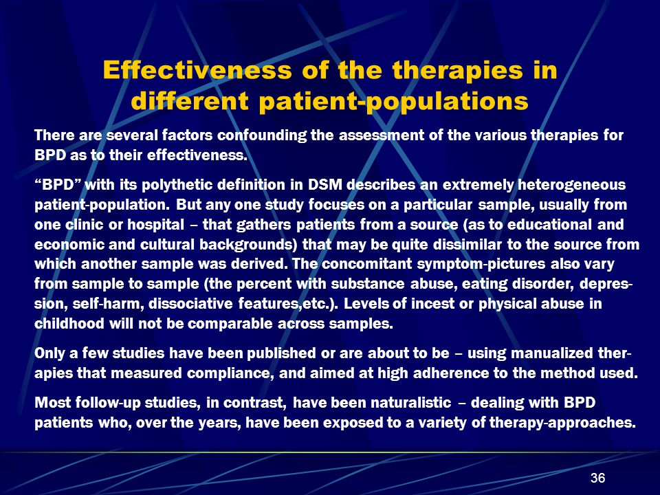 Effectiveness of the therapies in different patient-populations