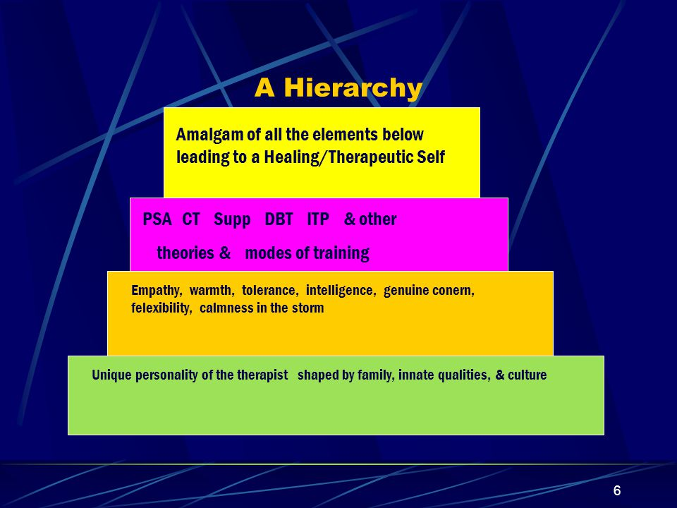 A Hierarchy Amalgam of all the elements below leading to a Healing/Therapeutic Self. PSA CT Supp DBT ITP & other.
