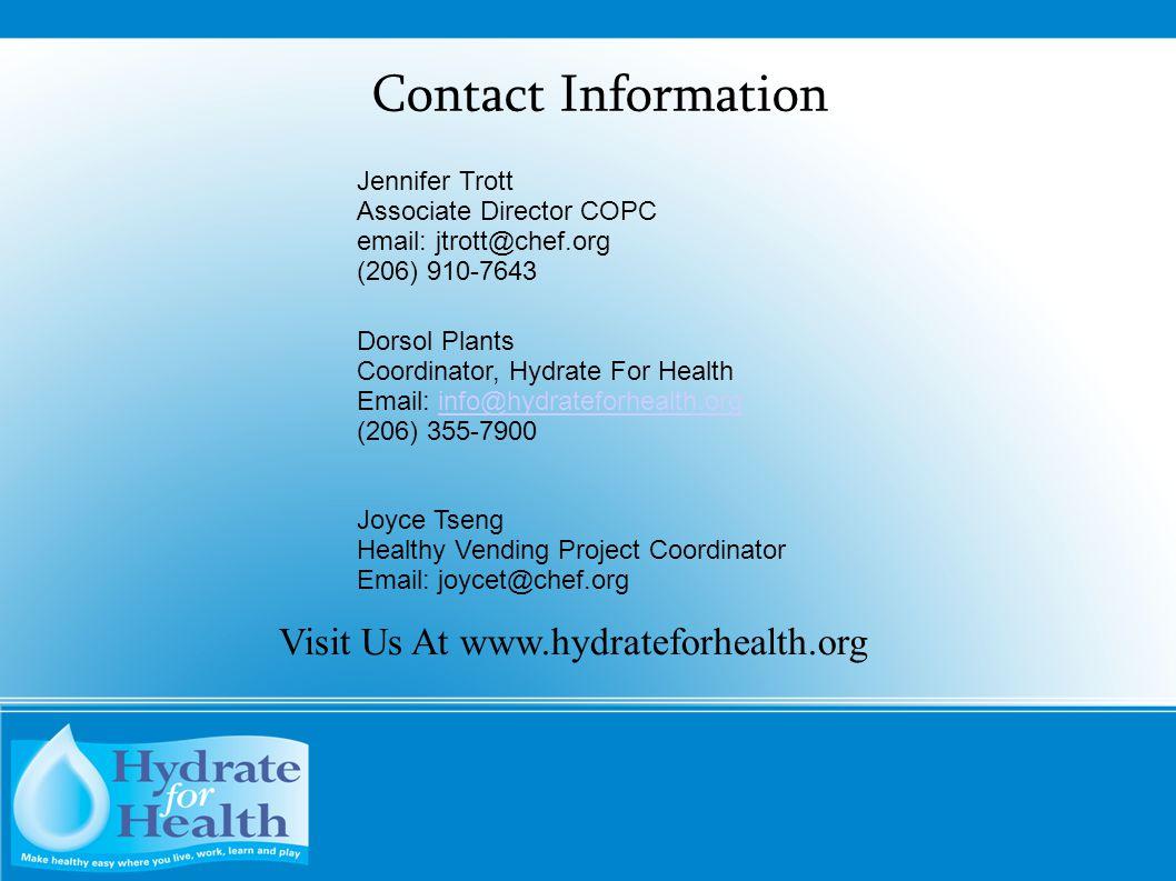Visit Us At www.hydrateforhealth.org