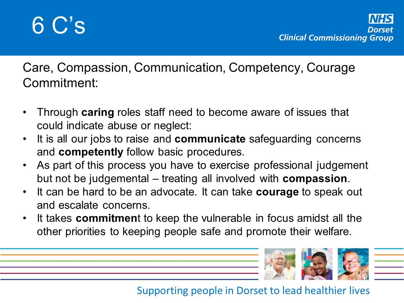 6 C's Care, Compassion, Communication, Competency, Courage Commitment: