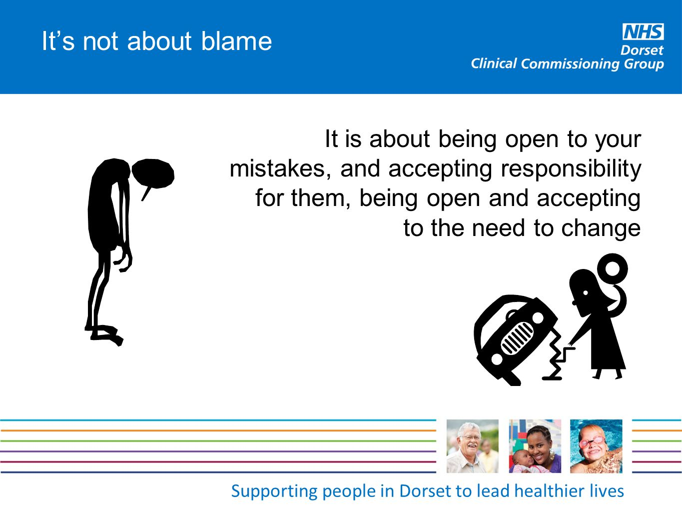 It's not about blame It is about being open to your mistakes, and accepting responsibility for them, being open and accepting to the need to change
