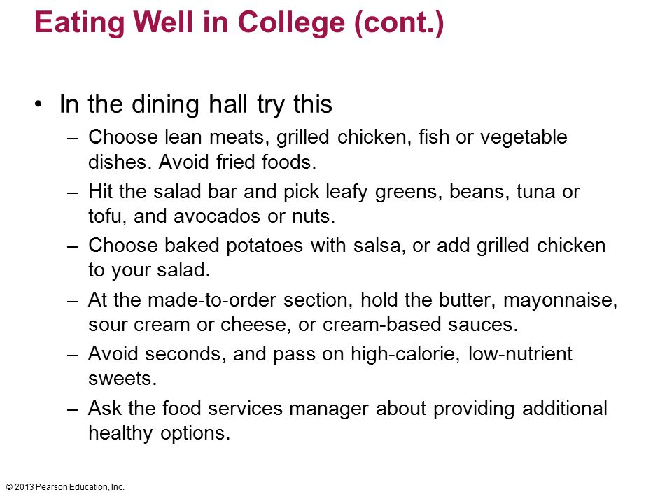 Eating Well in College (cont.)