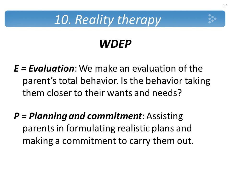 10. Reality therapy WDEP.