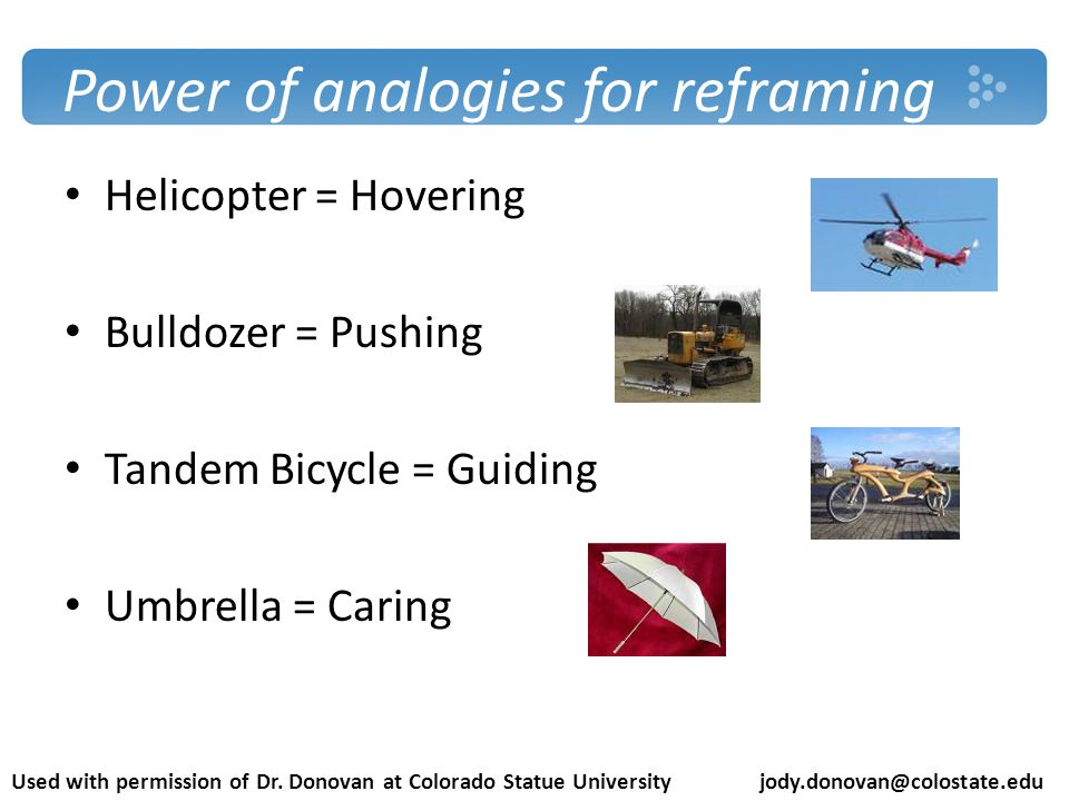 Power of analogies for reframing