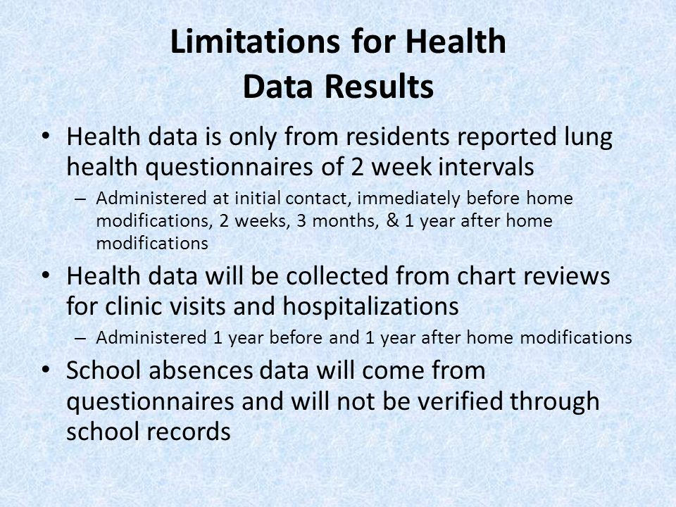 Limitations for Health Data Results