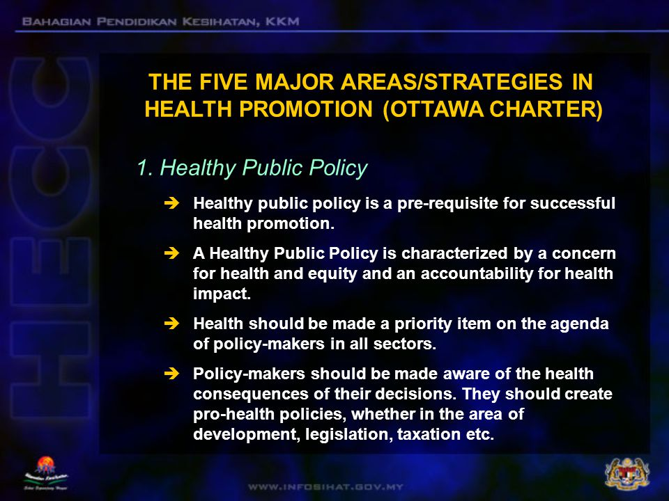 THE FIVE MAJOR AREAS/STRATEGIES IN HEALTH PROMOTION (OTTAWA CHARTER)