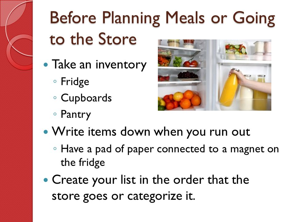 Before Planning Meals or Going to the Store