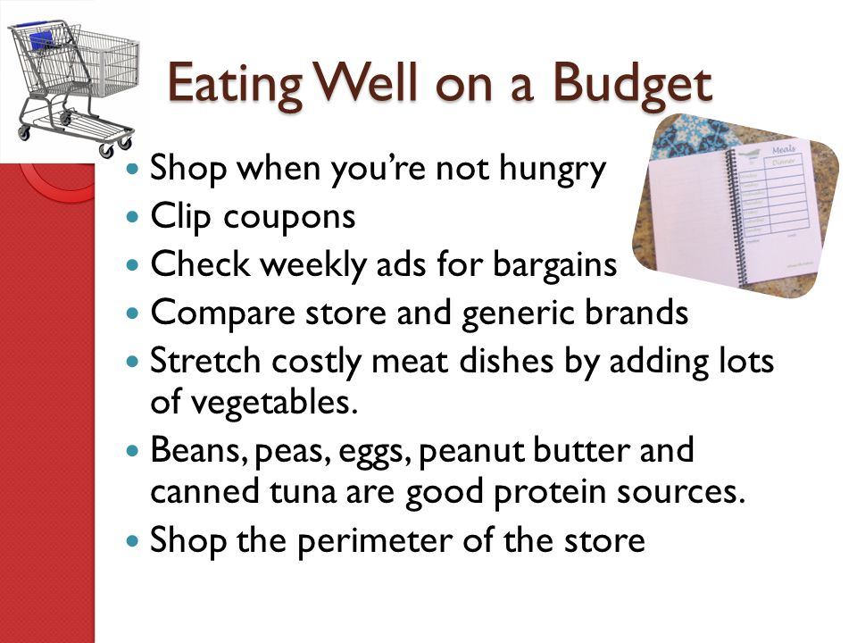 Eating Well on a Budget Shop when you're not hungry Clip coupons