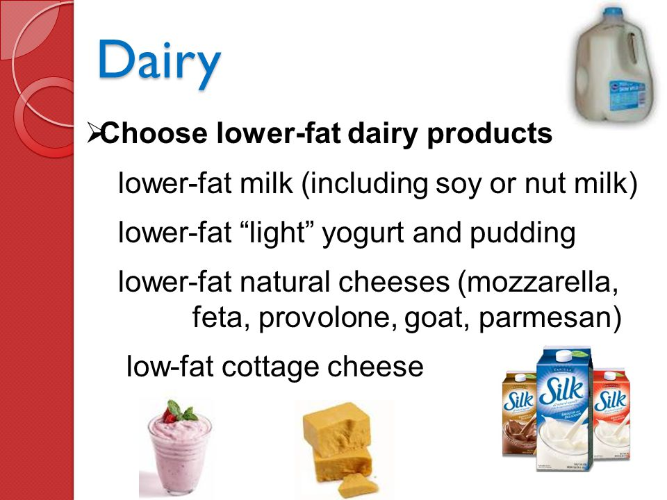 Dairy Choose lower-fat dairy products