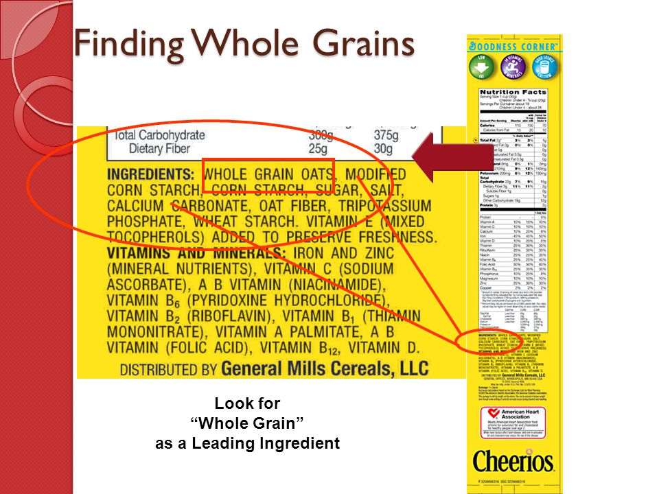 Look for Whole Grain as a Leading Ingredient